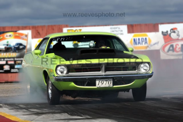 Green 1970 Baracuda at the Drags